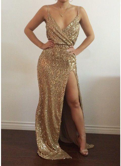 Gold Sequin Maxi Jurk Elegante Avond Paillette Gewaad Sexy hoge split Bustier Jurk spaghetti v hals mermaid jurken in                    &nbsp van jurken op AliExpress.com | Alibaba Groep