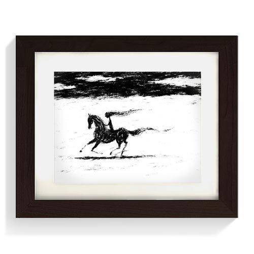 Koně No.04 Ilustrace dívky jedoucí na koňi..  Digitální kresba-limitovaný tisk-20ks.