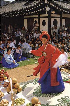 A shaman (mudang) conducting a ritual in rural South Korea