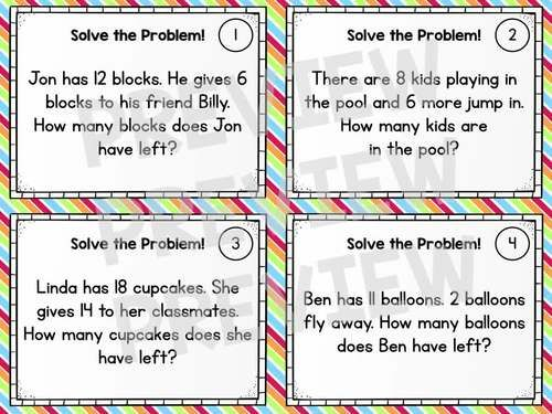 Word Problem Solving Task Cards - Grade 1 Math Addition Subtraction ...