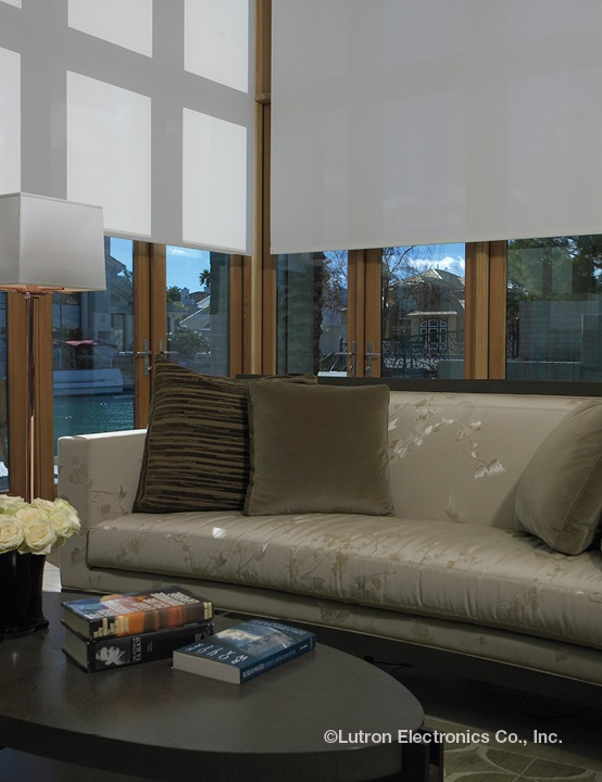 Lutron automated roller shades are terrific for those hard-to-reach spaces.  http