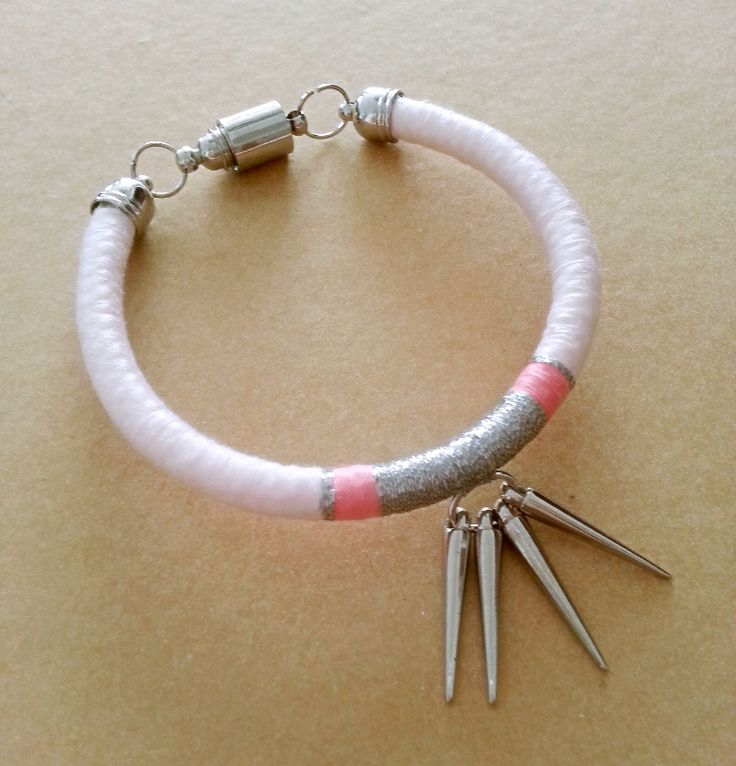 Light Pink, Pink and Silver Bracelet with Silver Studs