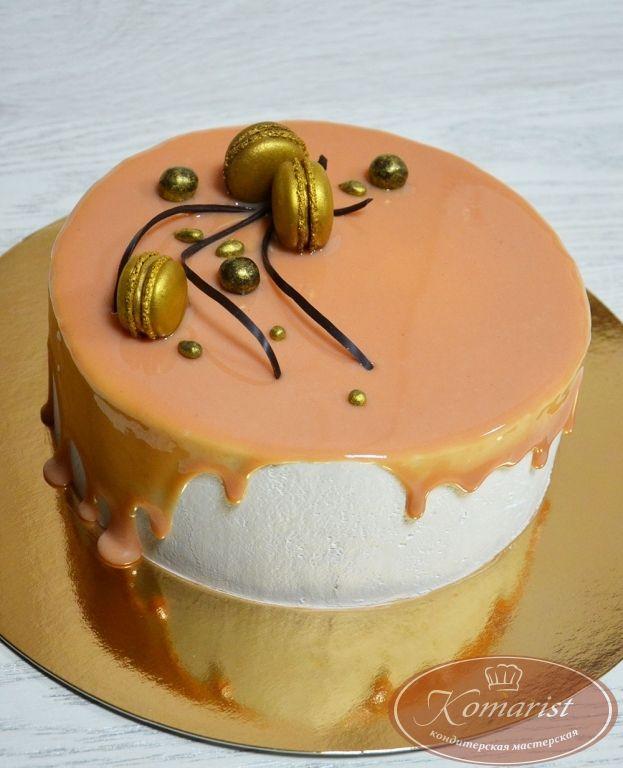 Торт оранжевая зеркальная глазурь - Кондитерская мастерская Комарист: фото, цена, купить, доставка