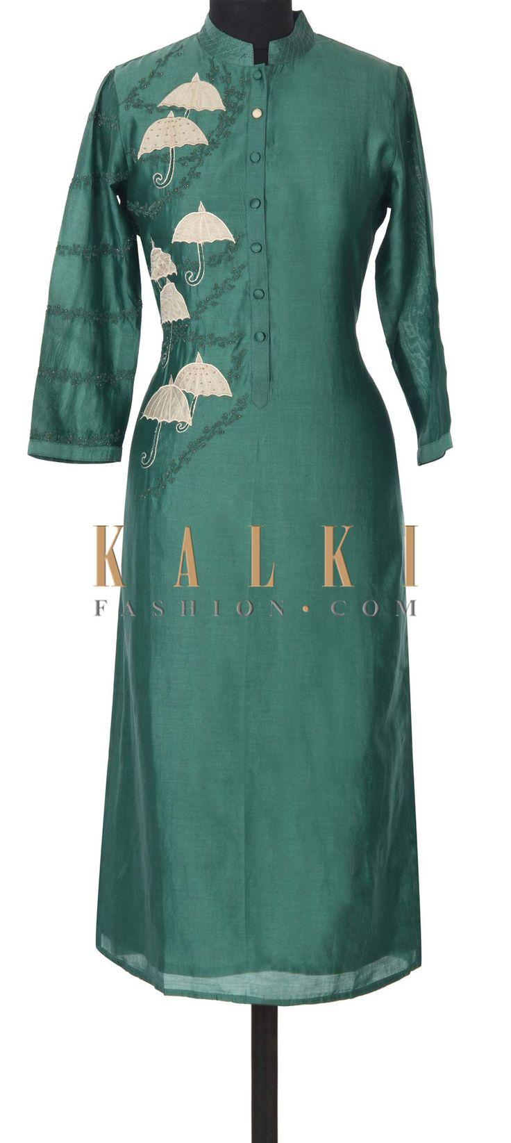 BUy this Mud green kurti adorn in umbrella motif embroidery only on Kalki