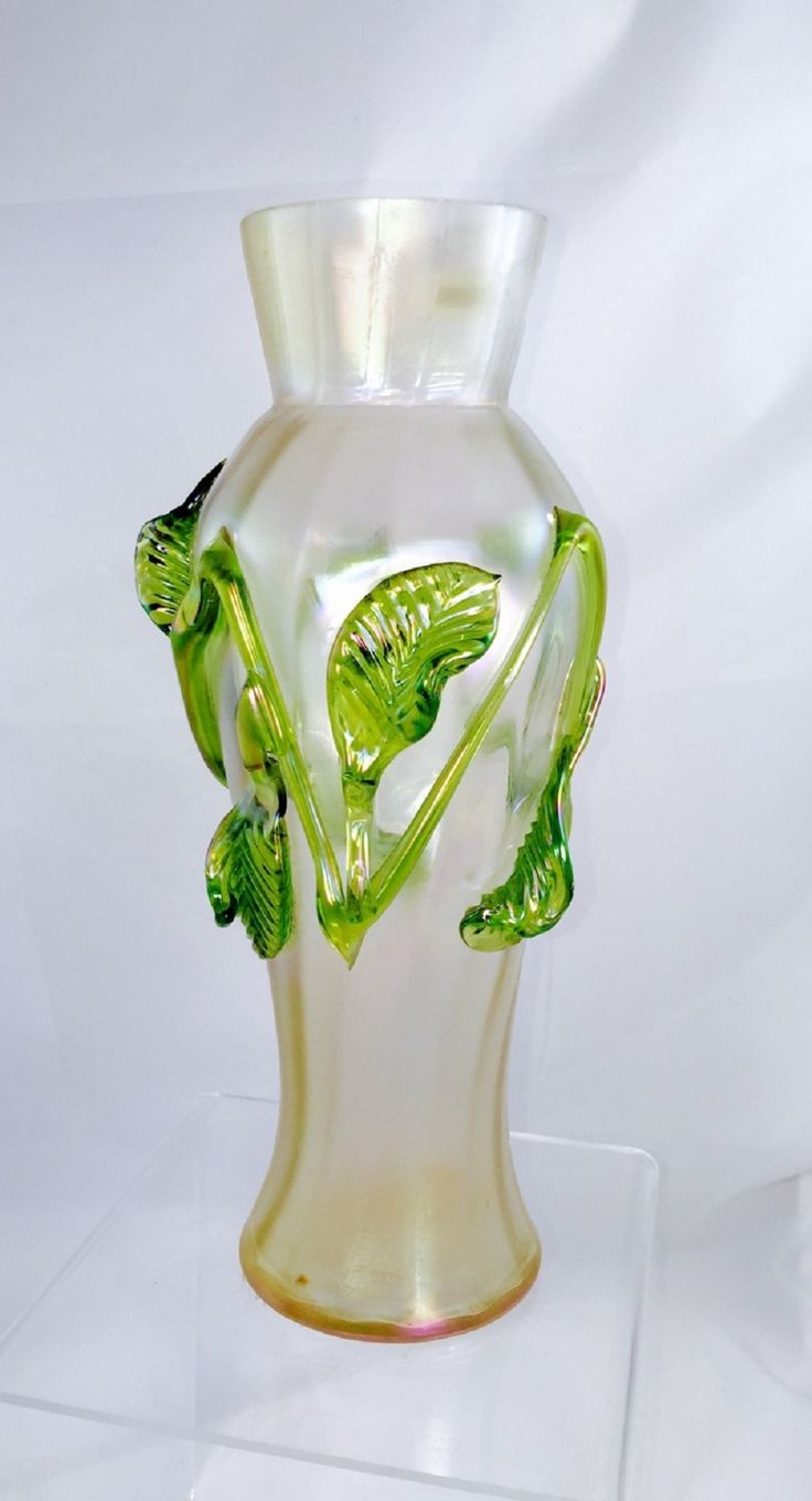 438 best secese jugendstil art nouveau glass images on pinterest kralik applied seaweed leaves iridescent vase 11 reviewsmspy