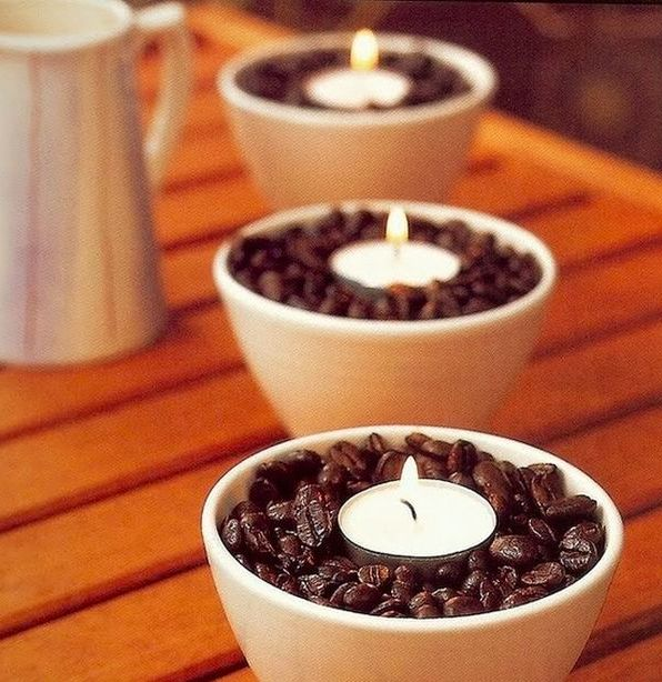 Coffee beans + vanilla votives = a heavenly smelling home for the holidays!  #MrCoffee