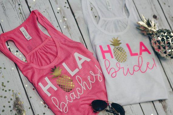 bachelorette party shirts/Hola Beaches bachelorette tank tops/