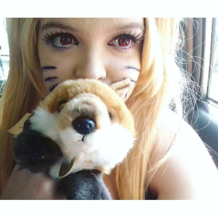 I was given a Fox at SpaCon and i finally named him  He is my travel buddy  BTW this as a makeup test for my demonnaruto  i love my red contacts  And thank you foe all the love on my Naruto cosplay pics. It means the world to me and now if senpai can notice me I will cry more