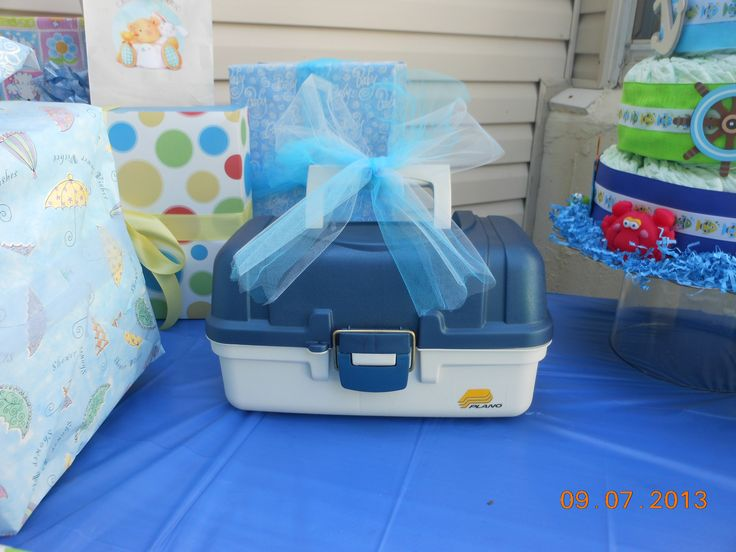Tackle Box filled with baby needs: Thermometer, nasal asperator, nail clipper and files, brush and comb, medicine dropper, tylenol, motrin, gripe water wipes, A&D ointment, Vicks rub, etc...