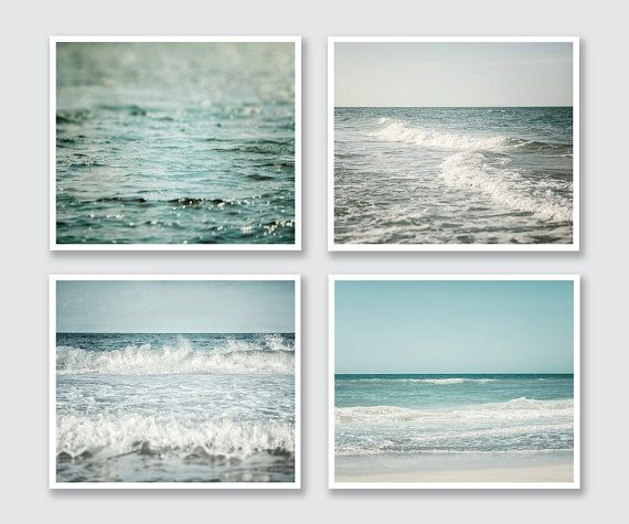 Gallery Wall, Beach Decor, Beach Photography Set, Blue Home Decor, Beach Prints, Beach Landscape Print Set, Blue Aqua Teal Nautical Ocean.