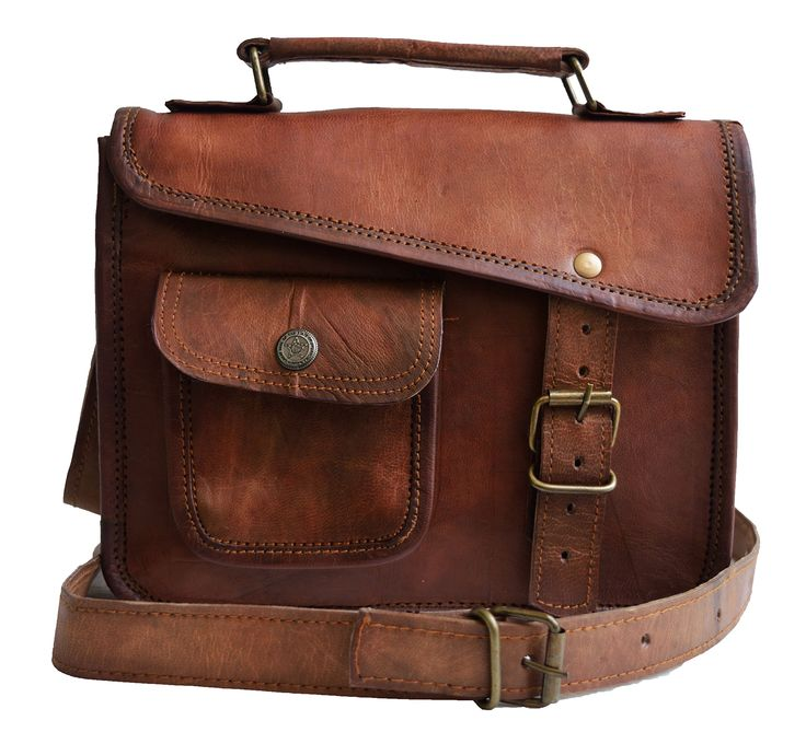 Jaald- Stylish Men's Genuine Leather Brown Shoulder Messenger Bag Ipad 1 2 3 4 Ipad Mini Tablet Satchel Murse Strap Sling Bag Leather Bag Cross Body Bag Man Purse notebook bag Small