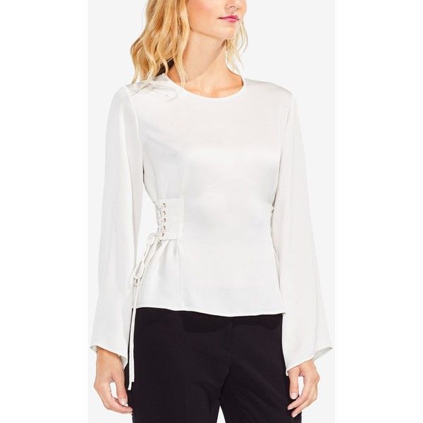 Vince Camuto Lace-Up Top ($89) ❤ liked on Polyvore featuring tops, pearl ivory, front lace corset, white bell sleeve top, vince camuto tops, white corset and lace up corset top