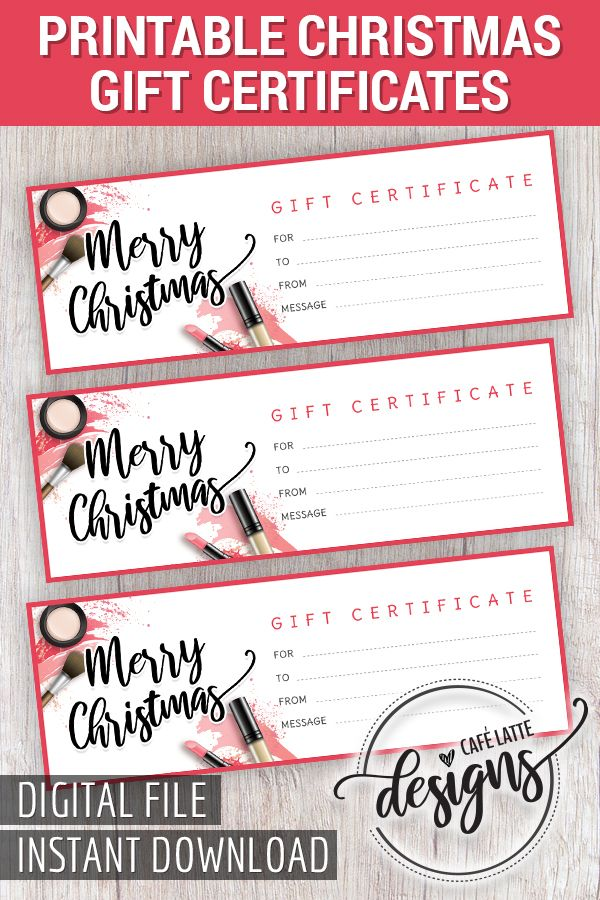 Makeup Session Gift Certificate Christmas Gift Certificate