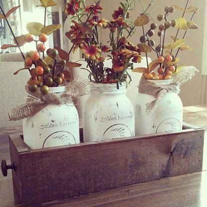 This great rustic mason jar centerpiece will add the rustic touch you are looking for to any kitchen. It is handmade out of reclaimed pallet