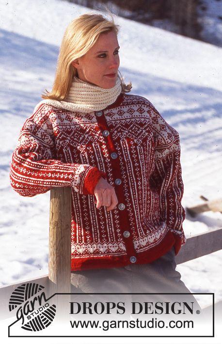 DROPS kofta i Karisma med nordisk mönster.