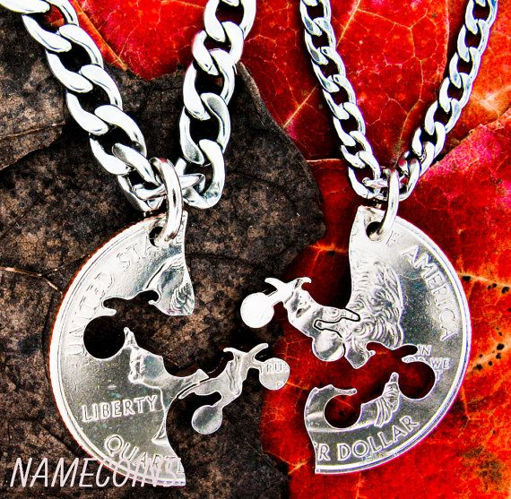 Dirtbike necklace, motocross couples, Guys jewelry, extreme couples Interlocking Relationship quarter, hand cut coin on Etsy, $34.99