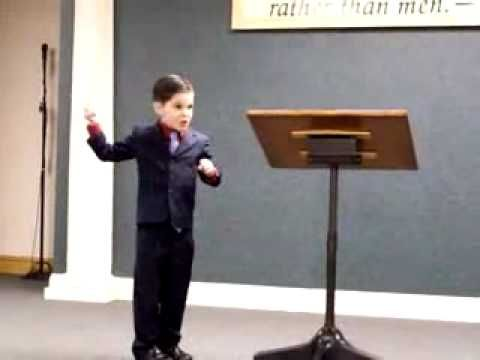 Young Boy Giving Talk in Sign Language - Jehovah's Witnesses he's telling the story of Jehovah leading Isreal with a pillar of smoke during the day, and a pillar of fire at night. How the people complained of no water, Moses and Aaron not praising Jehovah when getting the water from the rock. Little ones sign so cute!