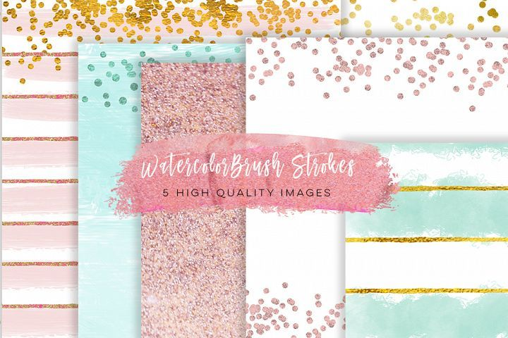 Rose Gold Digital Paper, Pretty Romantic Background, Chic Elegant Gold Glitter Paper, JPG Instant Download, mint green, rose and mint paper  from DesignBundles.net