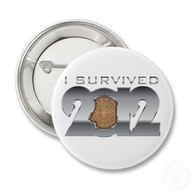 "I survived 21 December 2012 button!    This is a button that will make a great collection piece in several years when you'll look back and you'll laugh at ""the end of the world"" that you successfully survived. Tell everyone that you survived the Mayan Calendar, the 21 December 2012! Make a gift to someone. Brag with it! You earned it fair and square! You're a SURVIVOR!"