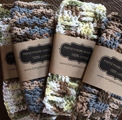 Free label template download for dishcloths and crochet business advice. Living Skies Crochet #crochet #free