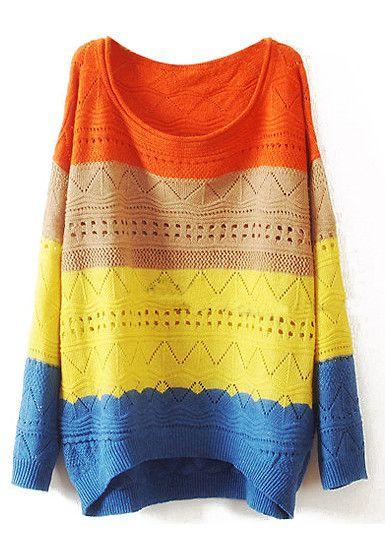 Striped Cutout Knitwear - Coral Shoulder