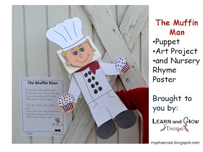 The Muffin Man Nursery Rhyme Themed Ideas: puppet, book, math activity, and play-doh fun