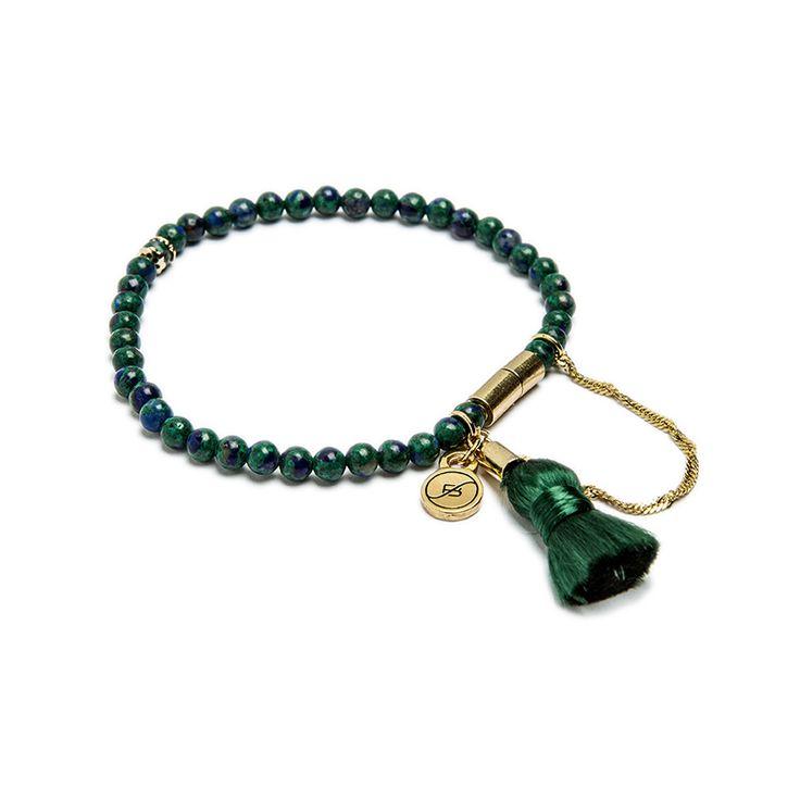 Pulseira de fio de contas de azurita, fecho magnético banhado a ouro com corrente de segurança e pompom de fios de seda