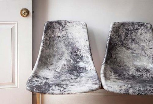 How to make gorgeous decoupage MARBLE FABRIC chairs from Megan at One Kings Lane #diy