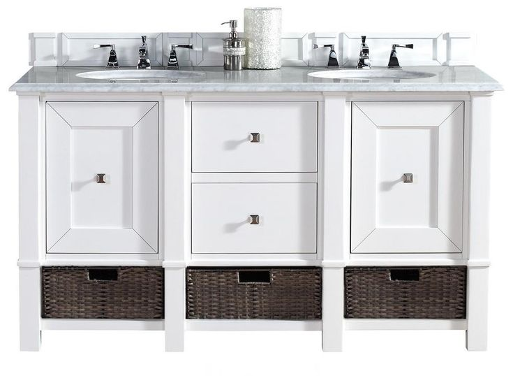 "60"" Madison Cottage white Double Sink Bathroom Vanity"
