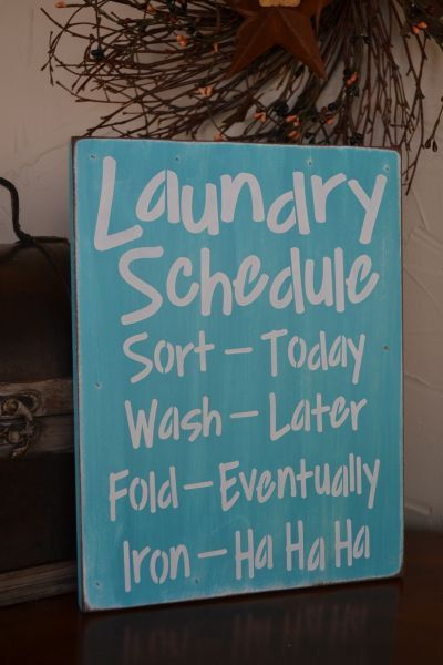 Laundry Schedule, Laundry Room Decor, 9x12 Primitive Wood Sign, CUSTOM COLORS on Etsy, $18.95