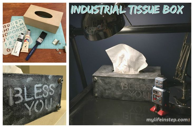 """DIY Industrial Tissue box cover with metal look and """"Bless You"""" stenciled on the front"""