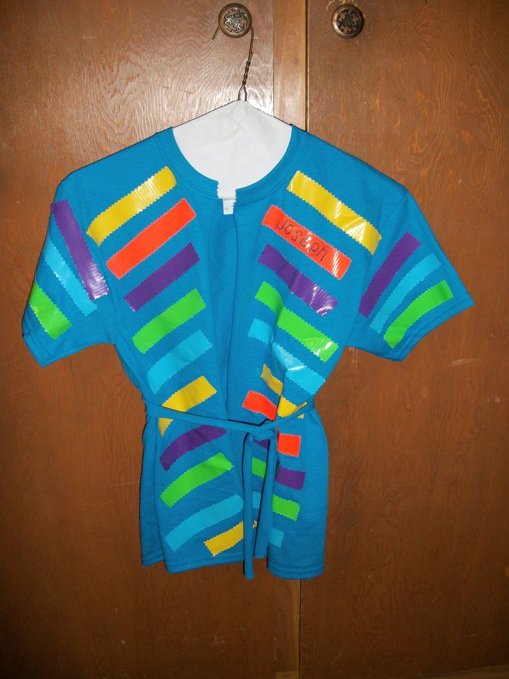 Joseph coat - use t shirt, cut strip down the front to use for belt, cut colors stripes out of duct tape.  Add a stripe as they answer a question about the story.  Great idea, Kalie!