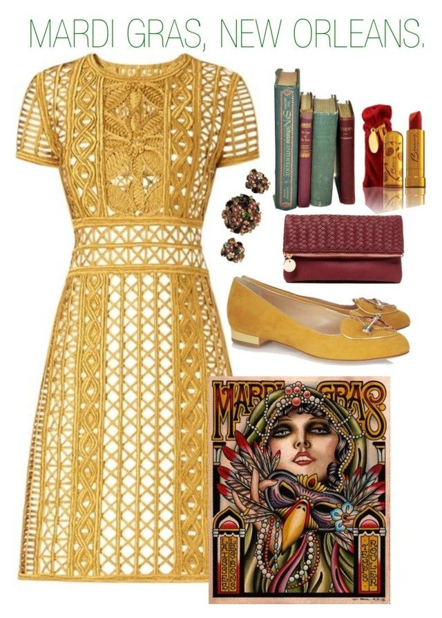 """""""Mardi Gras, New Orleans."""" by jlence ❤ liked on Polyvore featuring Burberry, Charlotte Olympia and Deux Lux"""