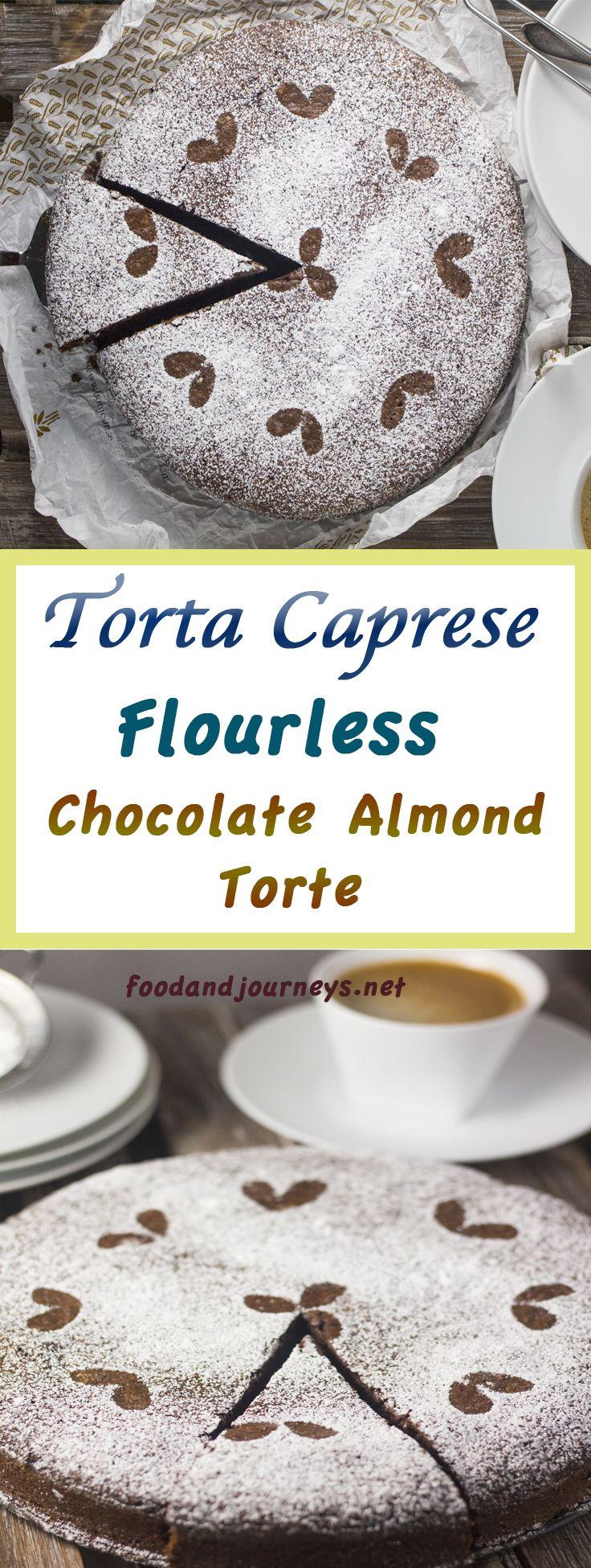 Torta Caprese (Chocolate Almond Torte). It's a flourless chocolate cake with almonds and rum; and it's Italian. Need I say more?  Italian | Recipe | Cake | Flourless. #cakerecipes #italianrecipes #dessertrecipes #authenticitalian #italianfood #chocolate #cake