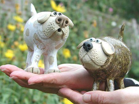 Pottery Leggy Dog - standing