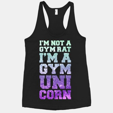 Are you a mystical creature that can never be caught frolicking around your local gym? Get your girly sexy fitness on with this glitter I'm Not A Gym Rat I'm A Gym Unicorn black racerback tank!