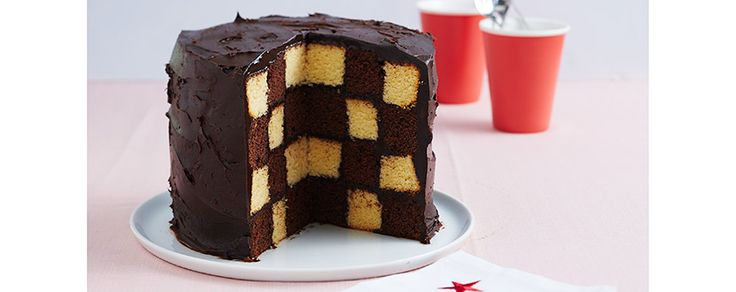 Checkerboard vanilla choc cake. recipe is for all 4 layers to be made at once in kitchen aid and then cooked - has a template to use to cut the circles