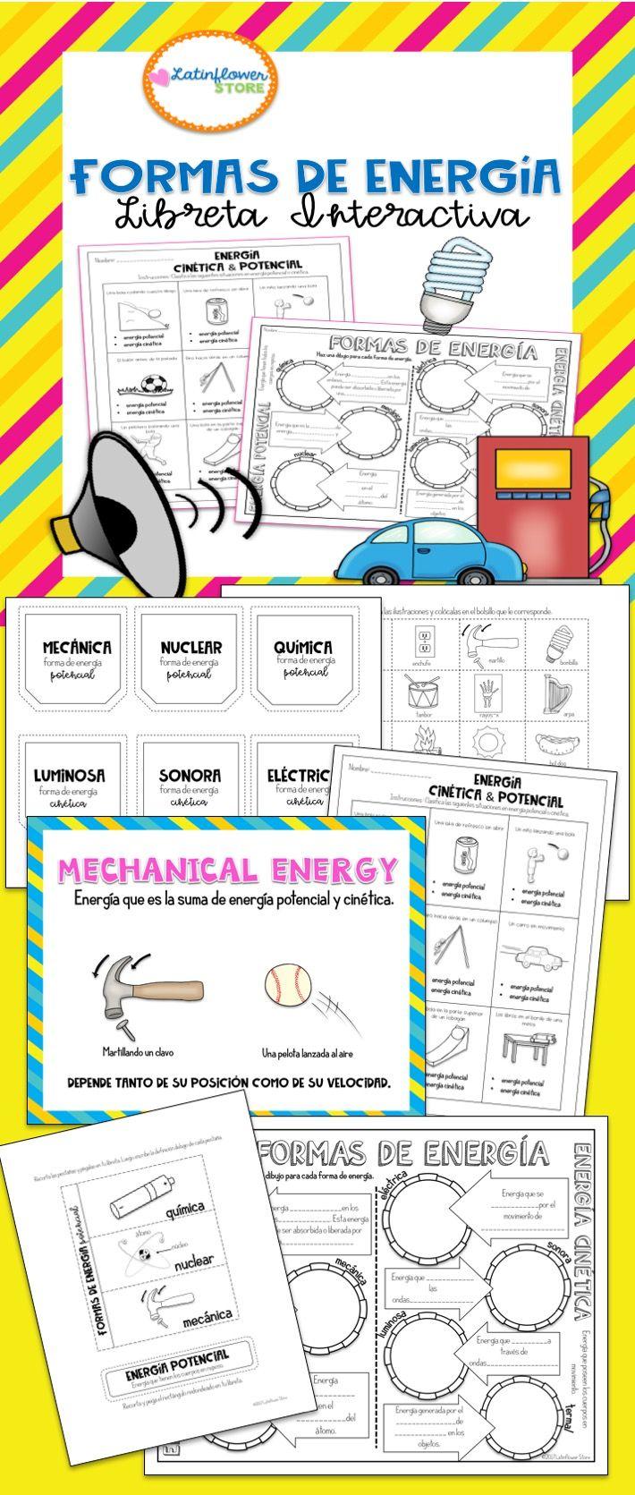 Formas De Energía Libreta Interactiva Spanish Resources Energy Bullet Journal