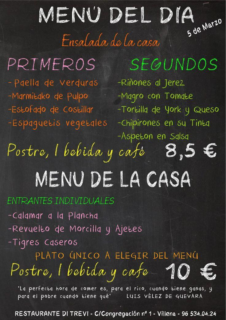 Menú para Restaurante Di Trevi en Villena.