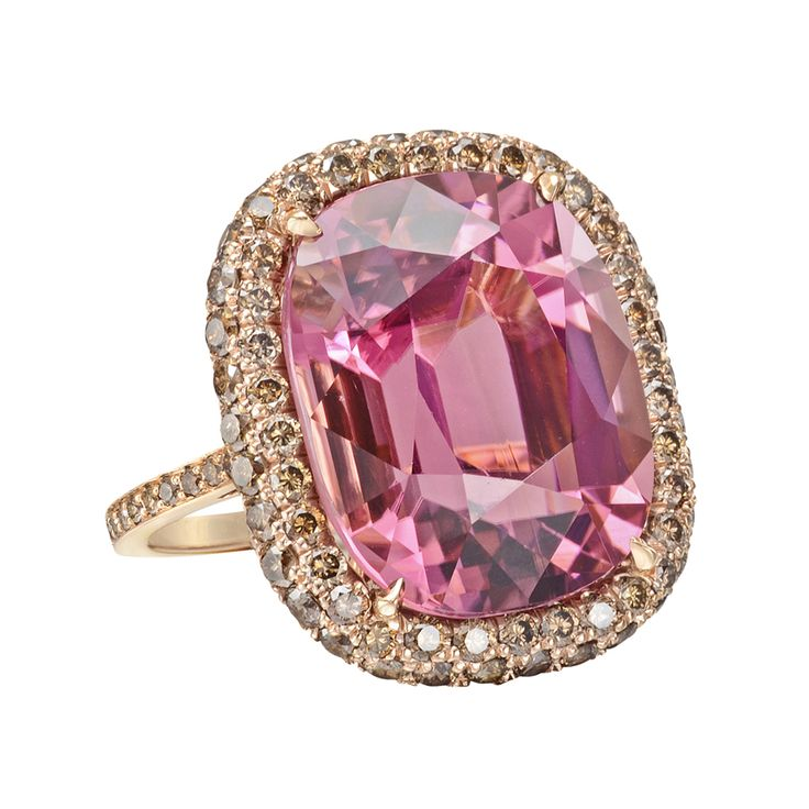 Paolo Costagli Pink Tourmaline & Cognac Diamond Cocktail Ring - Blow-your-mind beautiful!