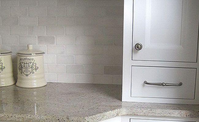 tumbled marble subway tile backsplash kitchen