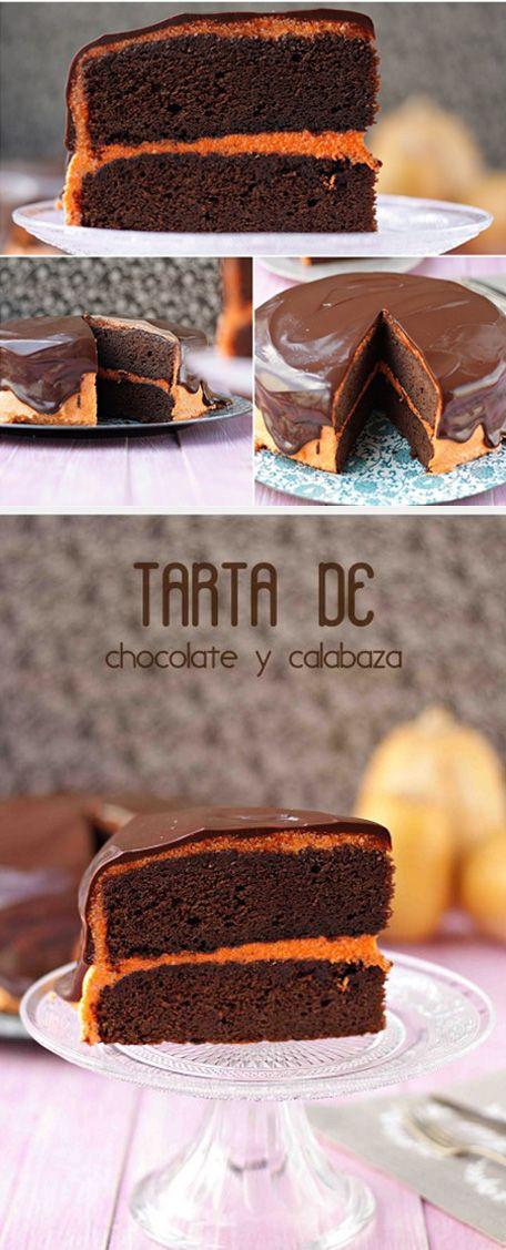 Tarta de chocolate y calabaza