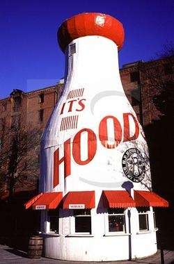 Hood Milk Bottle - Standing 40 feet tall, this giant milk bottle sits next to the Boston Children's Museum, just across the Fort Point Channel. In 1930, Arthur Gagner built the milk bottle next to his store to sell his homemade ice cream.