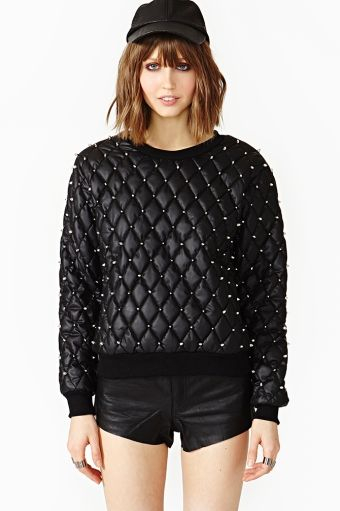 Quilted Stud Sweatshirt