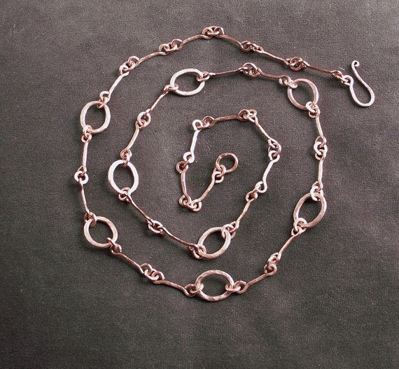 Handmade copper chain necklace, copper jewelry, 7th anniversary, coppery,  metalwork, handcrafted chain