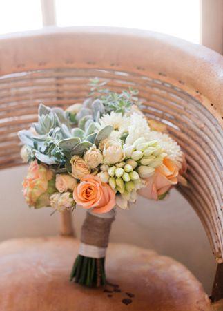 Bride's rustic bouquet with succulents // Mel Barlow & Co