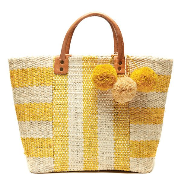 Yellow Collins Tote Bag – Favery -- Perfect for the beach, the market, or zipping around town, this beautiful basket tote bag, handwoven from sustainable sisal in cool graphic stripes, is adorned with festive raffia pom poms and features a sea grass lining, inner pocket, and durable leather handles.