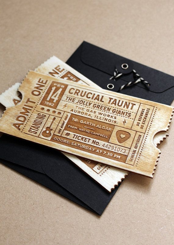 Personalised laser cut wooden tickets - Gig ticket