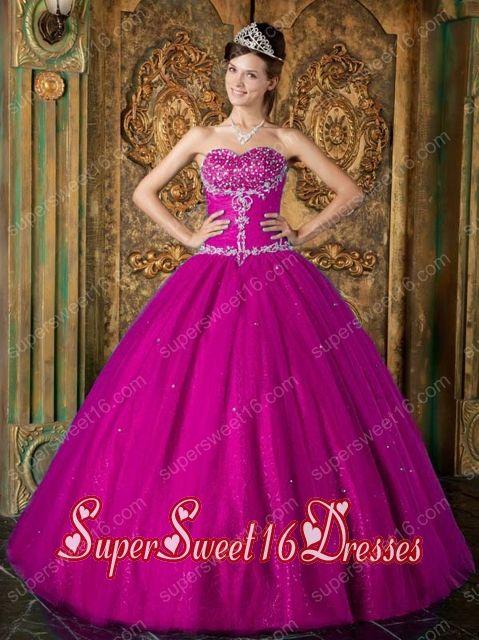 Fuchsia A-Line Sweetheart Floor-length Beading Tulle 15th Birthday Party Dresses