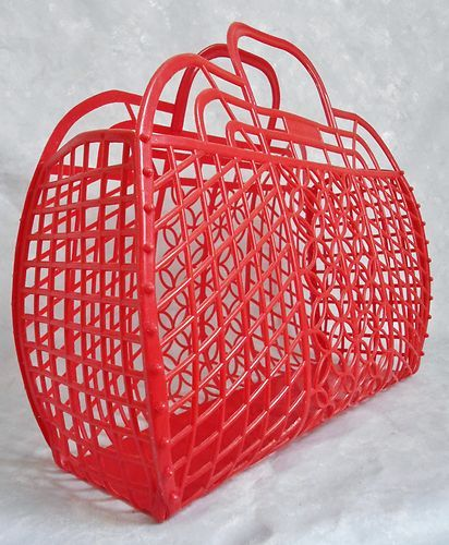 VINTAGE 80s 90s LARGE RED JELLY BASKET HANDBAG/BAG/TOTE~BY CLOCK HOUSE~RETRO/FAB